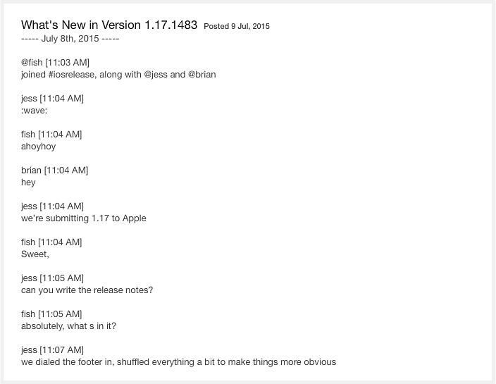 Medium app update is displaying Slack communication.