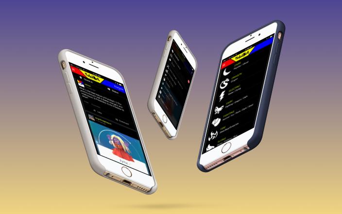 Mockups of different screens in PokeNet app