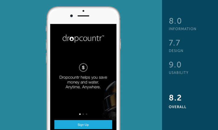 Dropcountr mobile app rated by information, design and usability on behalf of Shoutem team for review of environmental apps