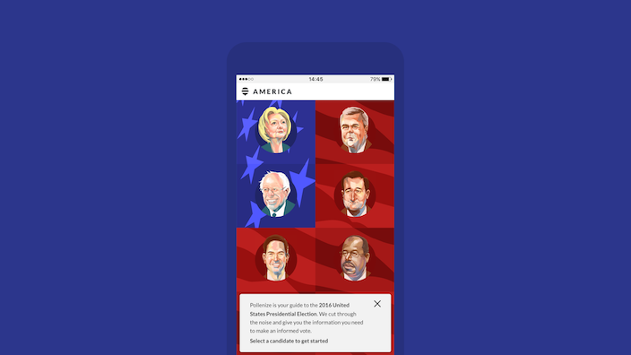 iPhone device running Pollenize app that can help you decide whom to vote for at 2016 presidential election
