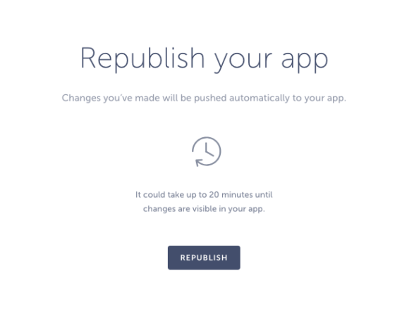 republishing mobile app