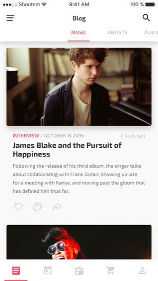 blog app screen