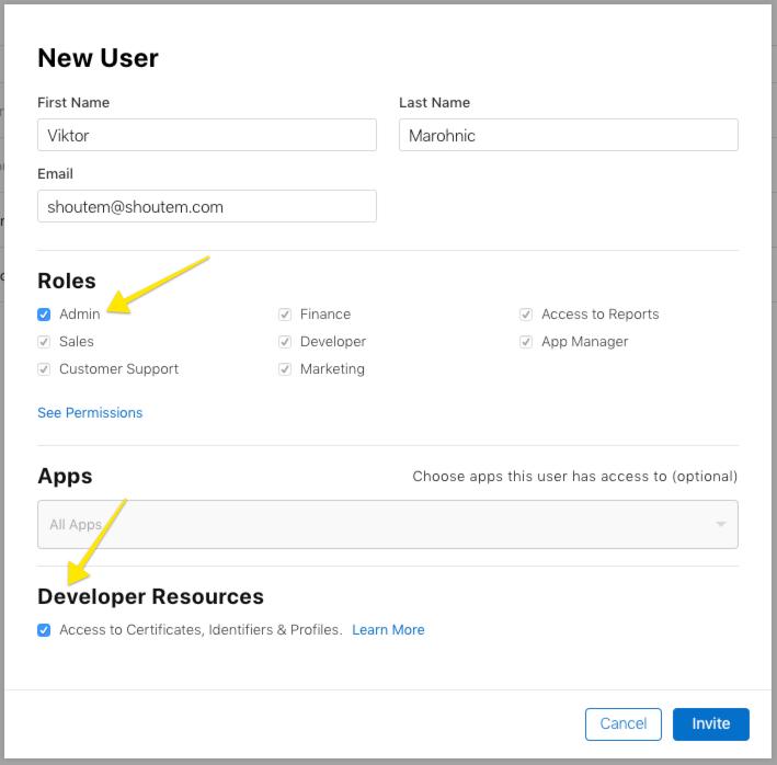 user settings app builder