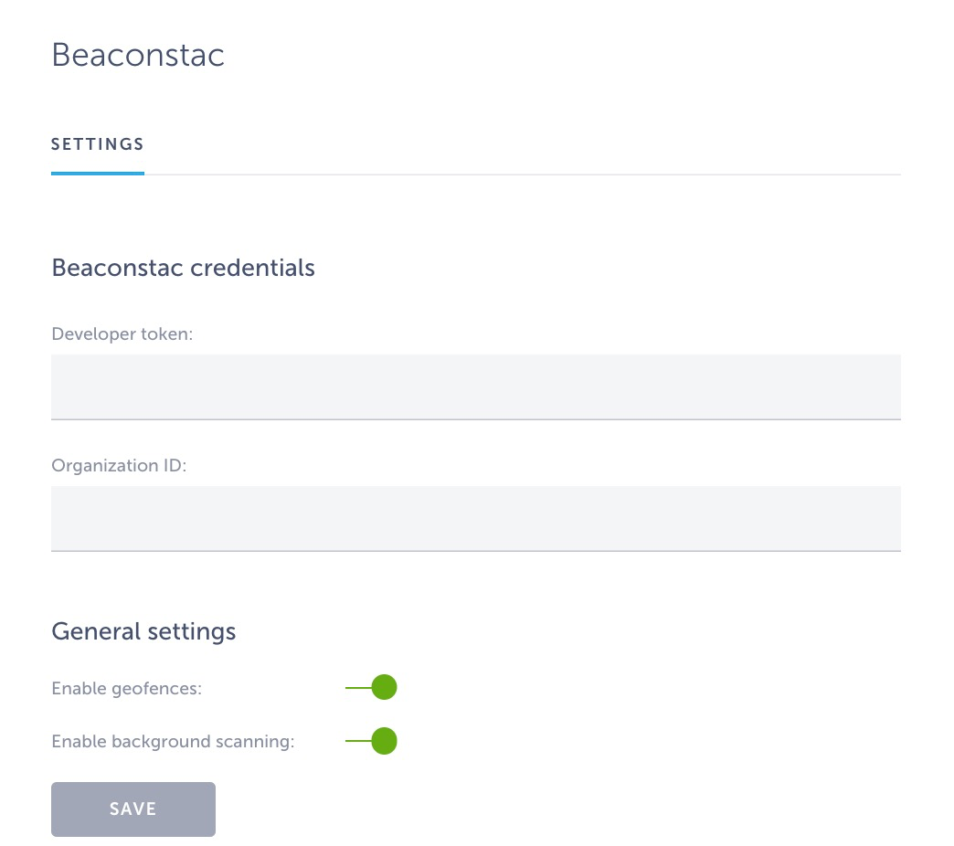 beaconstac settings