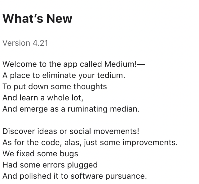 medium app update description