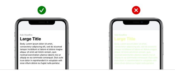 app design contrast