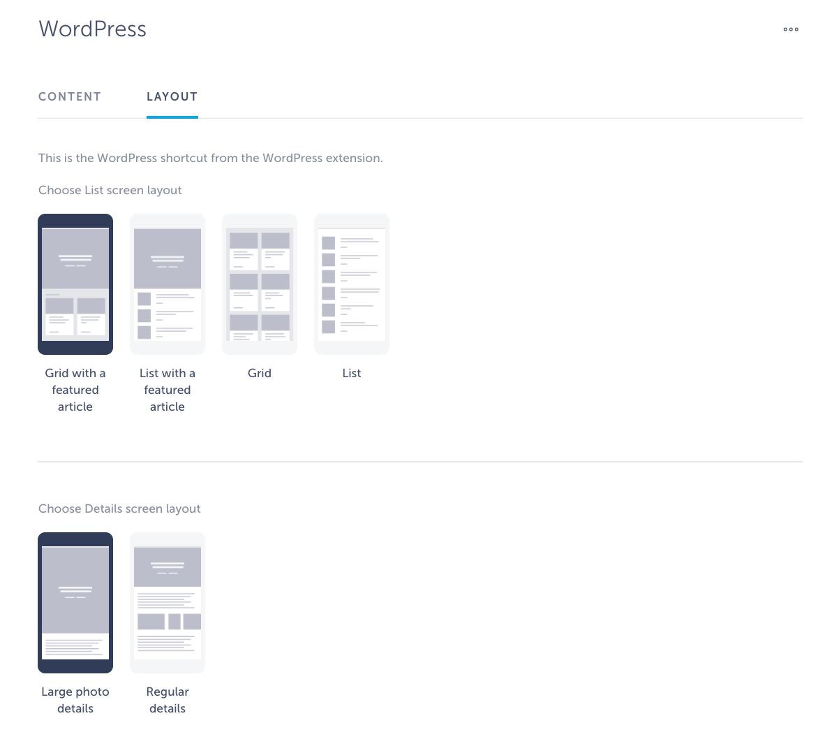WordPress layouts