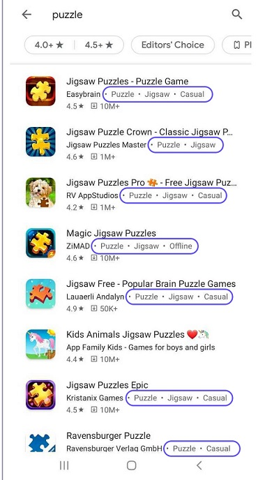 app category and app tag